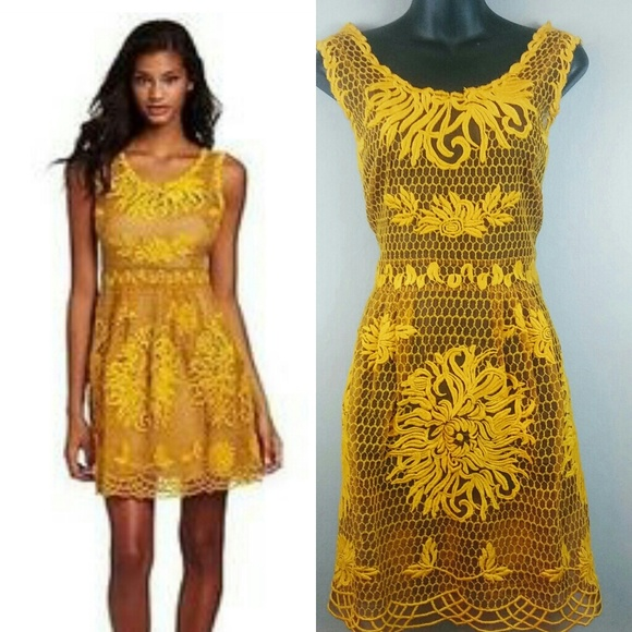71e0aff68bcb Anthropologie Dresses & Skirts - YOANA BARASCHI mustard silk Honeycomb Dress